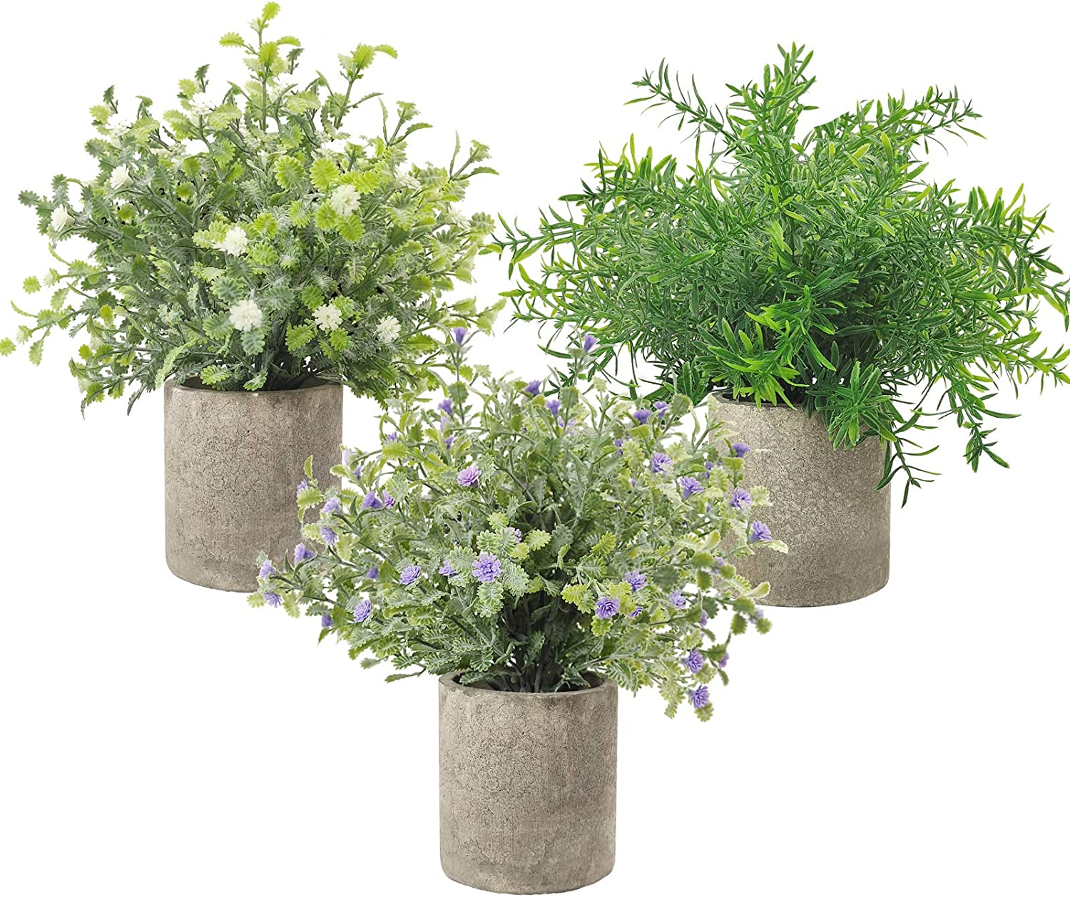 """3 Pack Small Potted Artificial Plastic Plants, Mini Fake Rosemary Plant Faux Flower Houseplants for Home Decor Indoor, 9.5"""" Tall Greenery Plants for Wedding Home Office Desk Garden, Indoor & Outdoor"""