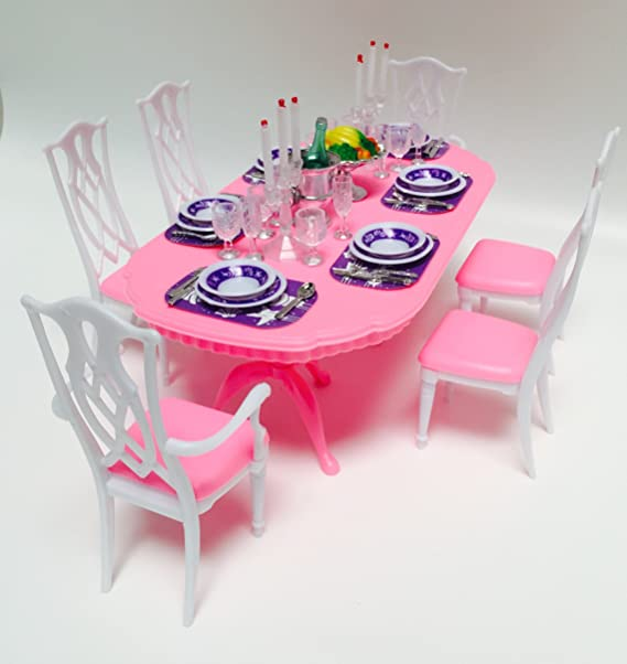 Amazon.com: Barbie Size Dollhouse Furniture- Gloria Dining Room ...