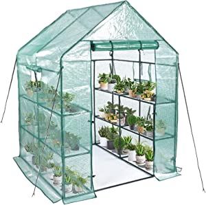 """Greenhouse, Mini Greenhouse Indoor&Outdoor with PE cover, 3 Tiers 8 Shelves Stands Greenhouse Include Anchors and Roll-Up Zipper Door, Portable Plant Gardening Greenhouse(56""""×56""""×76"""")"""