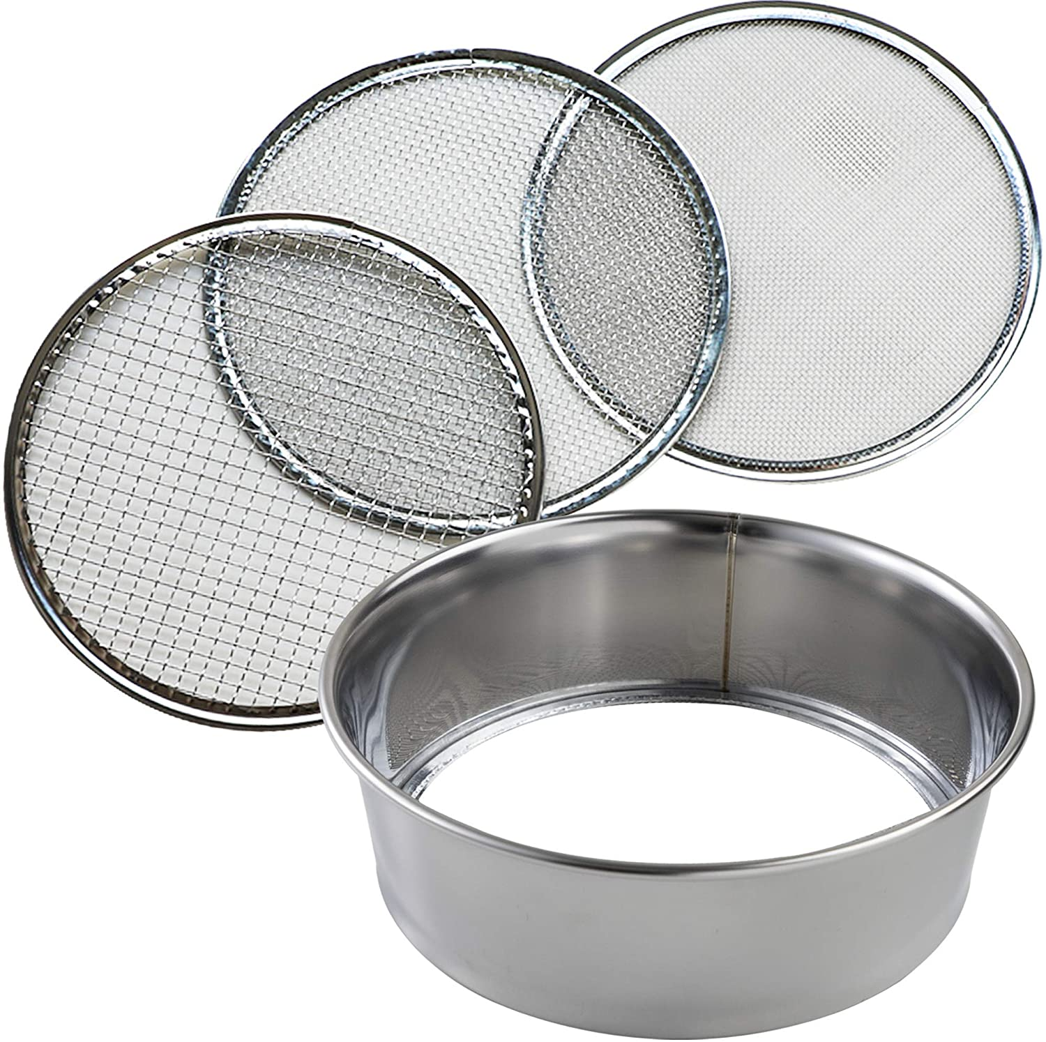 Hanafubuki Wazakura 3PCS Soil Sieve Set 8-1/4inch(210mm), Made in Japan, 3 Sieve Mesh Filter Sizes, Japanese Bonsai Gardening Tool - 8-1/4inch(210mm)