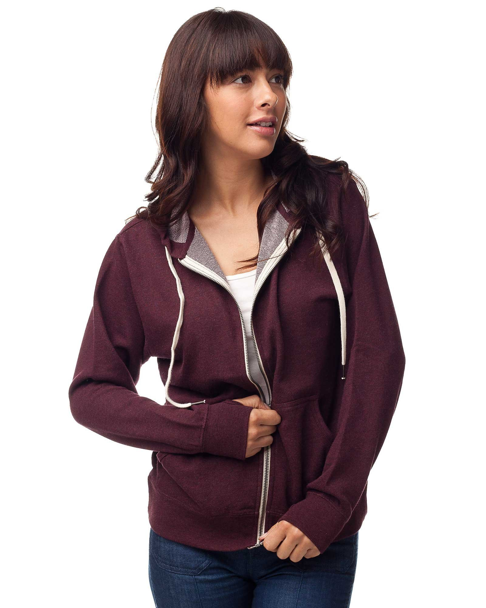 Global Blank Slim Fit French Terry Lightweight Zip Up Hoodie for Women and Men XS Burgundy
