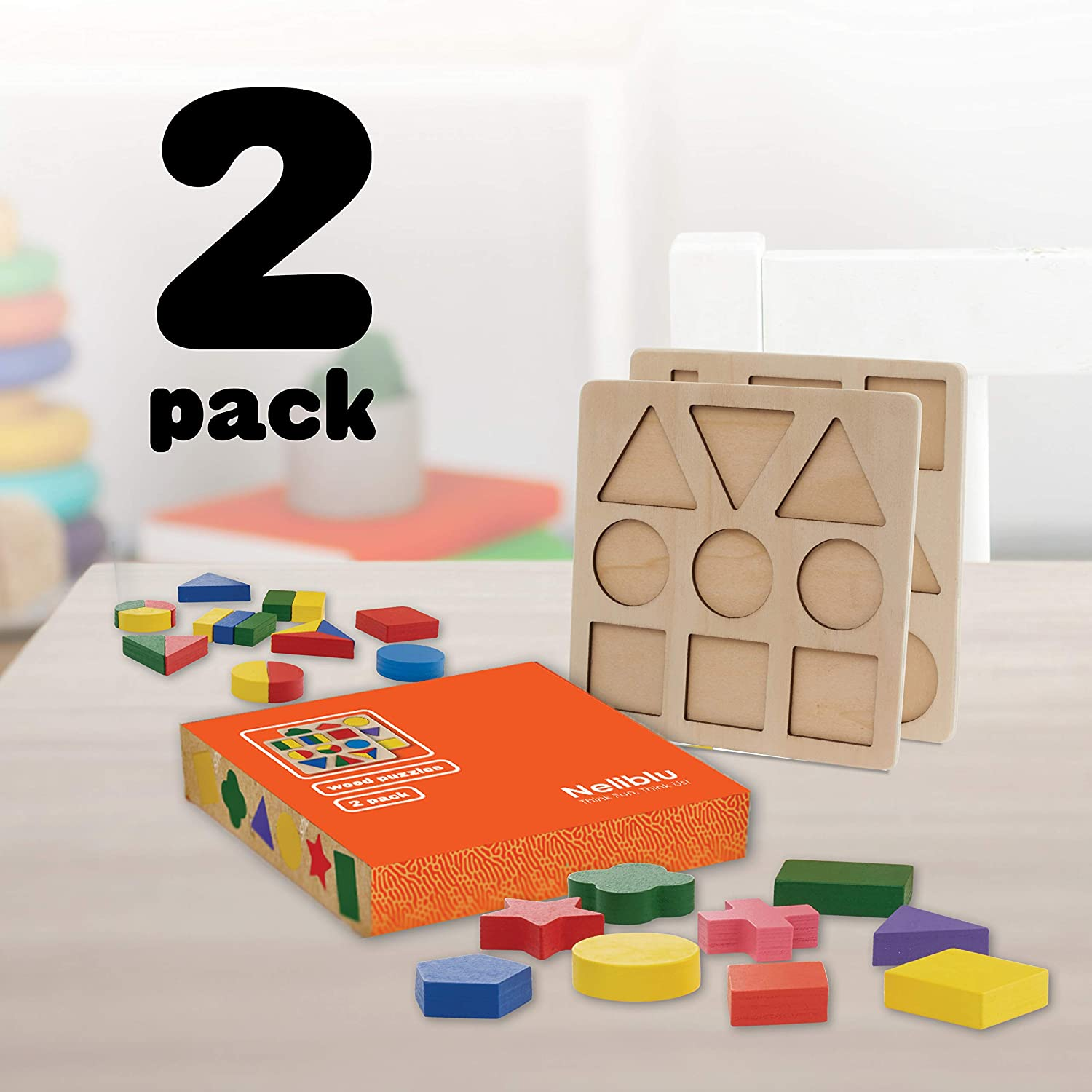 Wood Shape Toddler Puzzles Toys for Kids Set of 2 XL Puzzles with Assorted Shape Blocks Safe Non Toxic and Vibrant Colors Montessori Toy for Little Girls and Boys