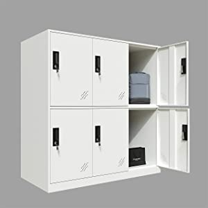 Full White Color 6 Door Metal Locker Cabinet Used for Gym Staff in Office School or Home