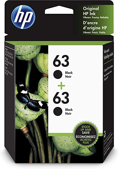 Amazon.com: HP 63 cartuchos de tinta negra originales, 2 ...