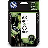 HP 63 | 2 Ink Cartridges | Works with HP Deskjet 1112, 2100 Series, 3600 Series, HP ENVY 4500 Series, HP OfficeJet 3800 Serie