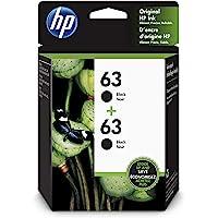 HP 63 Black Original Ink, 2 Cartridges (T0A53AN)