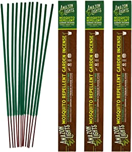 Amazon Lights Mosquito Repellent Garden Incense | Made with Plant Based Ingredients | 2.5 to 3 Hour Protection | 12 Sticks per Tube | 3 Pack