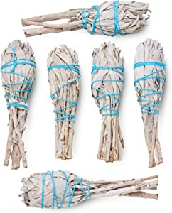 White Sage Torch 6 Pack (4-Inch Mini Torch) - Smudge Kit Replenishment/Refill Smudging Kit Refill | Sustainably Grown Sage Bundles | Sage Smudge Sticks