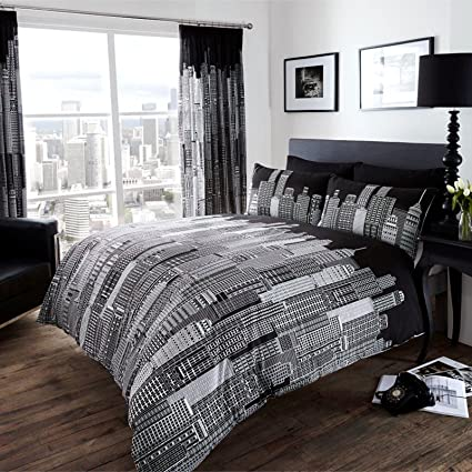 7c587402272 Just Contempo City Skyline Duvet Cover Set, Double, Black: Amazon.co.uk:  Kitchen & Home