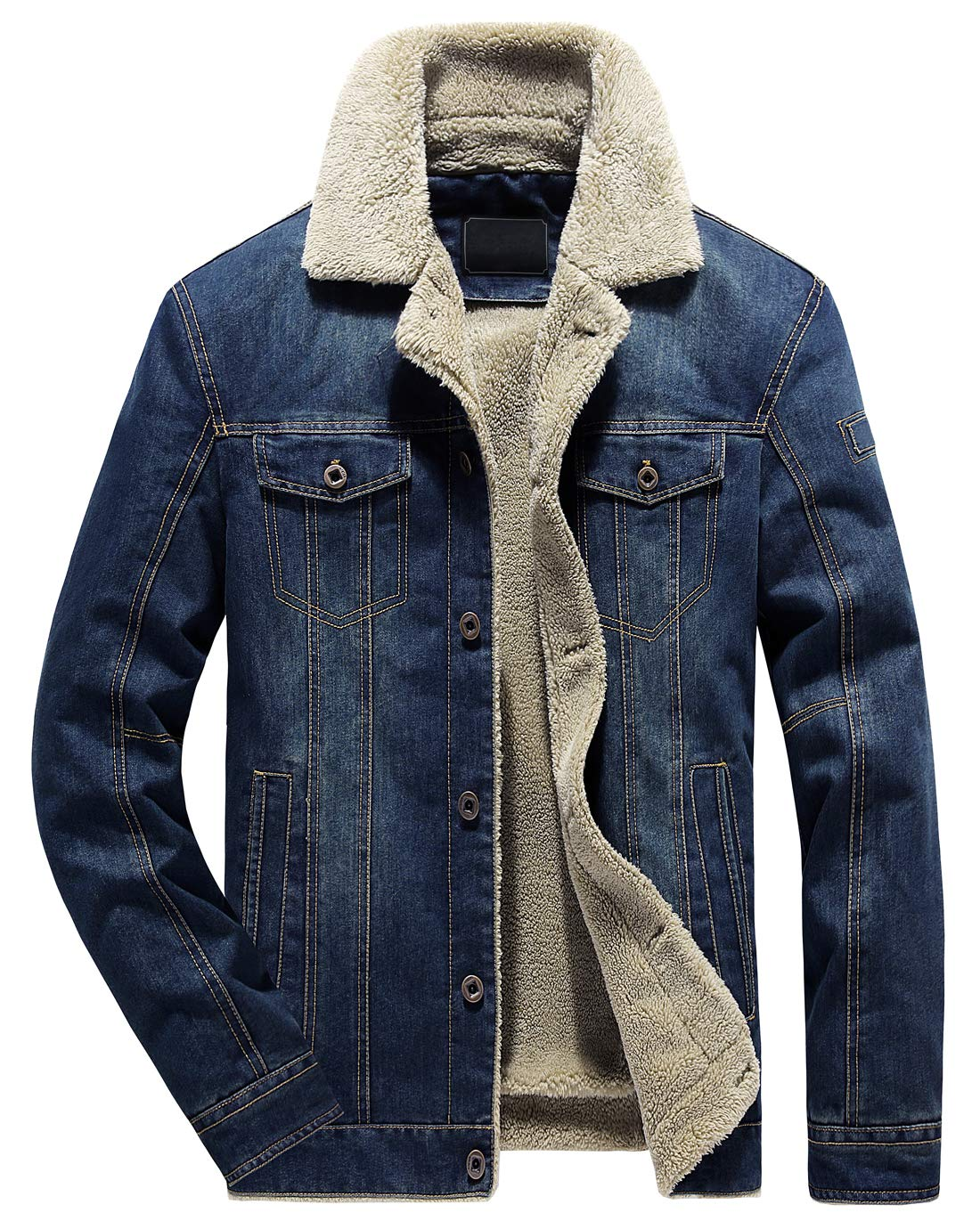 chouyatou Men's Classic Button Front Rugged Sherpa Lined Denim Trucker Jackets (Medium, Dark Blue) by chouyatou