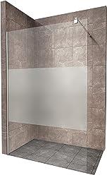 Duschabtrennung Duschwand Walk In Dusche 10mm STARK aus TEIL-SATINIERTEM ESG Sicherheitsglas mit Edelstahl Wandprofilen #740 (120 x 200cm, Teilsatiniertes Glas)