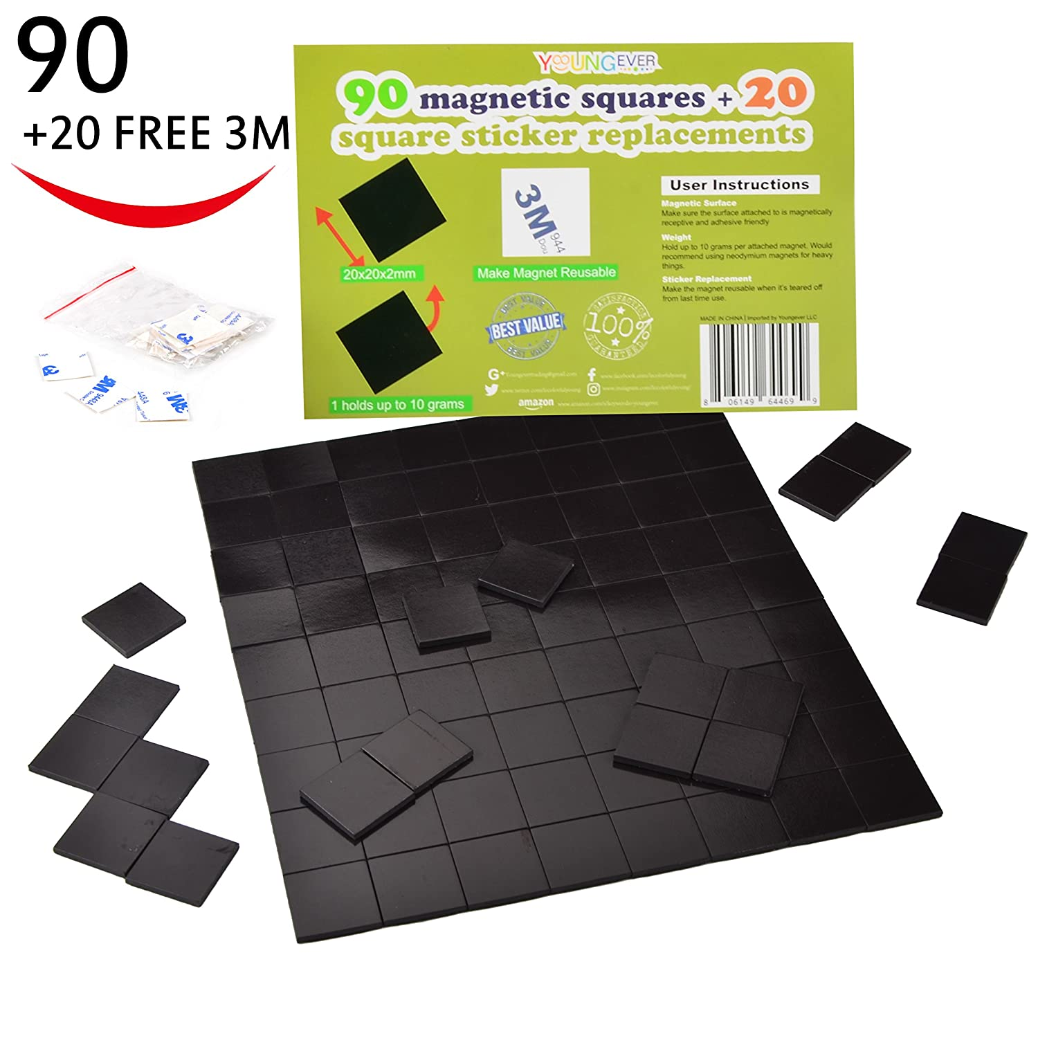 Adhesive Magnets Magnetic Tape Squares , 1 Tape Sheet of 90 Refrigerator Magnets(20x20x2mm) with 20 FREE 3M Double Sided Tape , Self Adhesive/Reusable. Perfect for Fridge Organization, DIY Art Project
