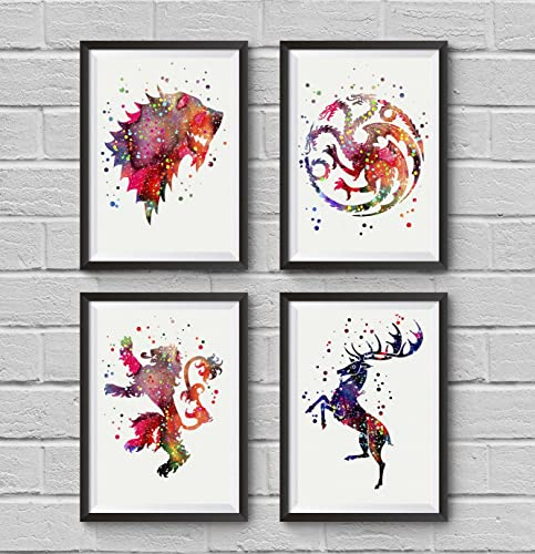 Amazon Game Of Thrones Watercolor House Symbols Poster Set 4