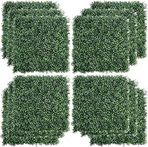 """kdgarden 12PCS 20""""x20"""" Artificial Boxwood Panels Topiary Hedge Plant UV Protected Faux Grass Wall Greenery Mats for Outdoor Garden Fence Backyard and Indoor Home Wedding Decoration, Dark Green"""