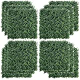 """Kdgarden 12PCS 20""""x20"""" Artificial Boxwood Panels Topiary Hedge Plant UV Protected Faux Grass Wall Greenery Mats for Outdoor G"""