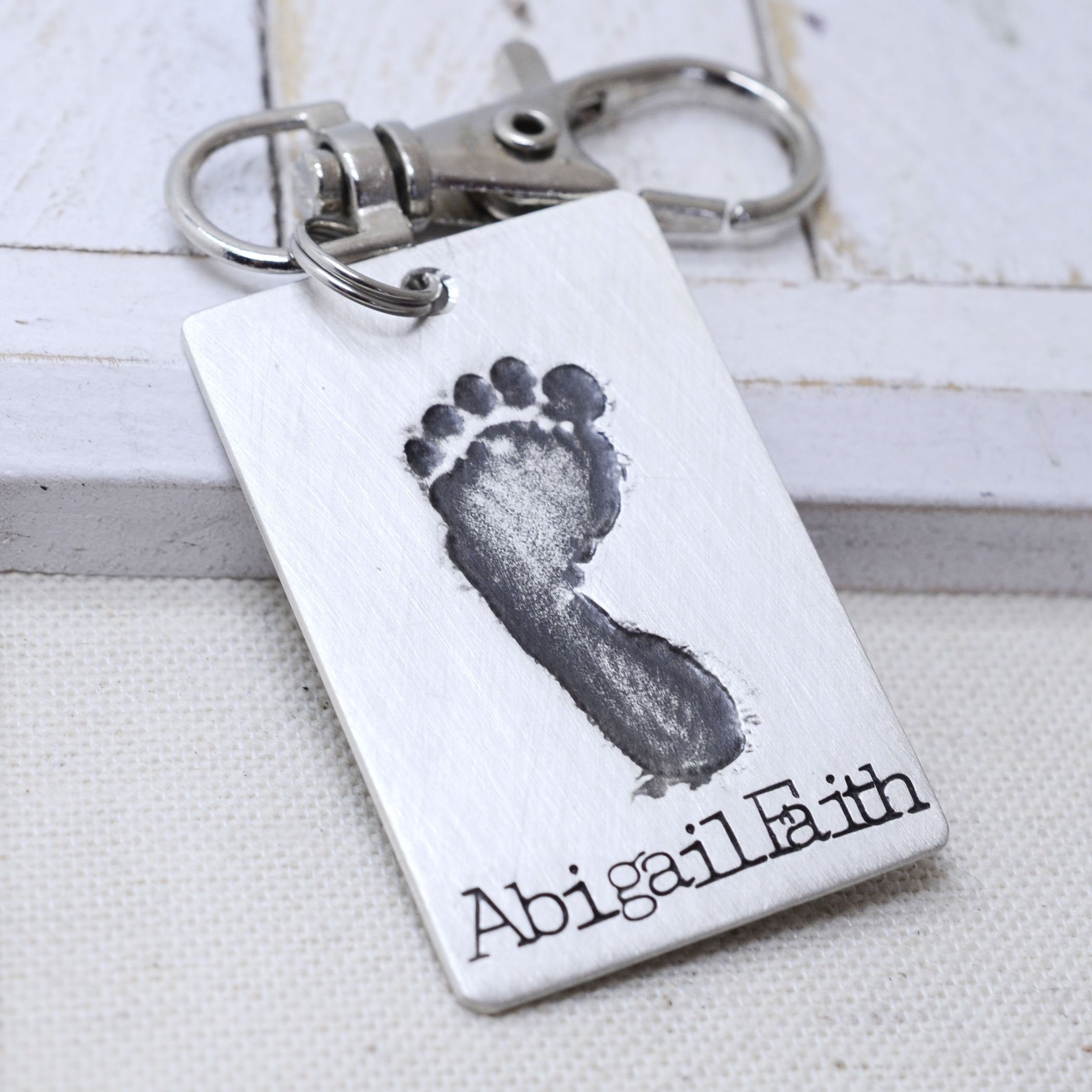 Sterling Silver Key Chain Baby's Actual Footprint - New Mom Dad Gift - Personalized Keepsake - New Baby - Father's Day Mother's Day Gift