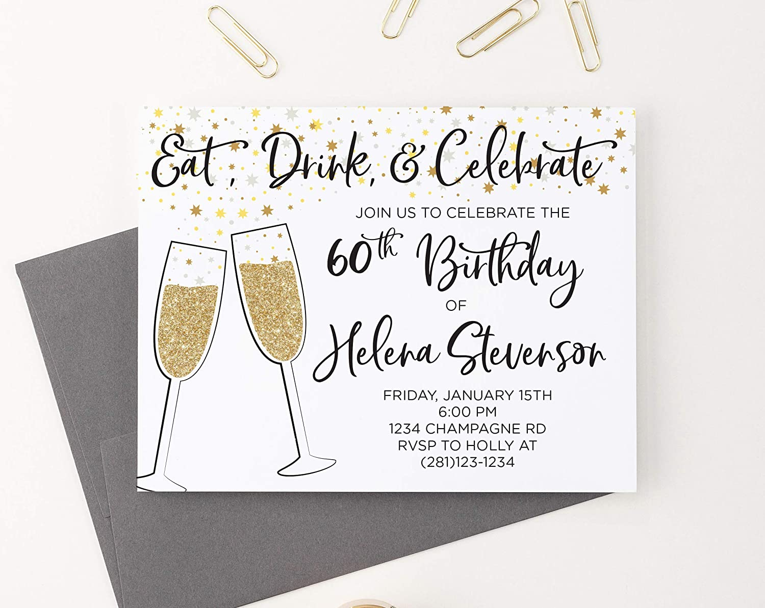 Amazon.com: Black and Gold Champagne 40th Birthday Invitations for Women, 50th  Birthday Invitation Cards for Women, 70th Birthday Invitations for Women,  Your choice of Age, Quantity and Envelope Color: Handmade