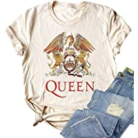 Women Vintage Queen T Shirt Rock Queen Band Fashion Graphic Freddie Mercury Shirts Short Sleeve Casual Graphic Tees