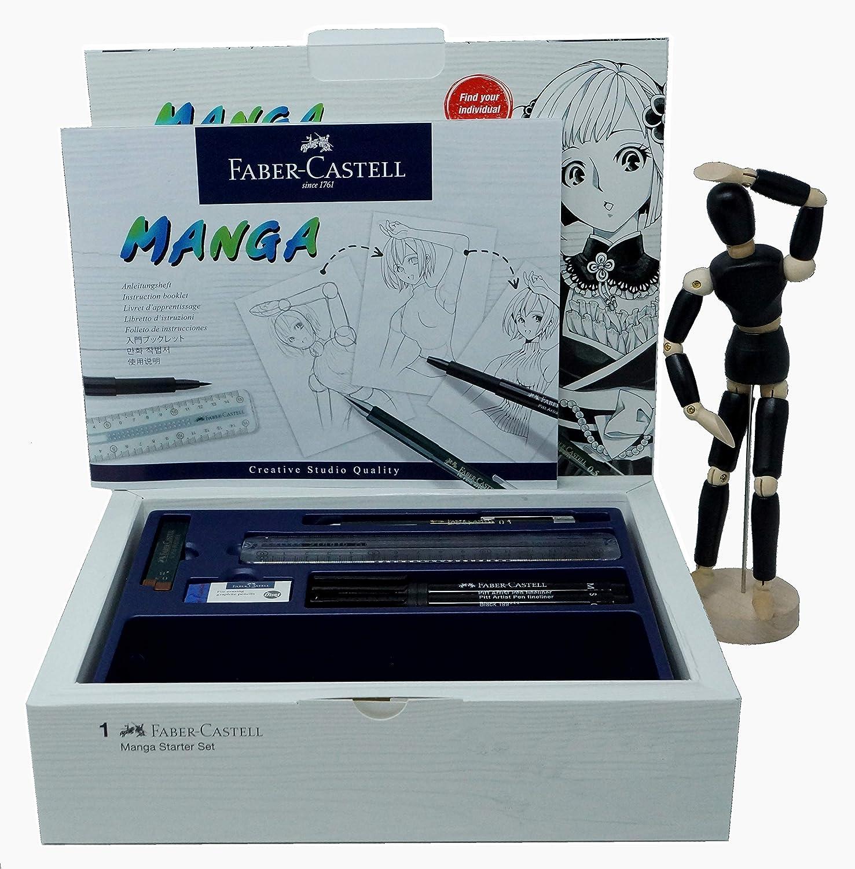 Faber-Castell 167136 - Pack Manga Starter Set, estuche de iniciación, incluye instrucciones, set de rotuladores y lápices de dibujo y maniquí: Amazon.es: Oficina y papelería