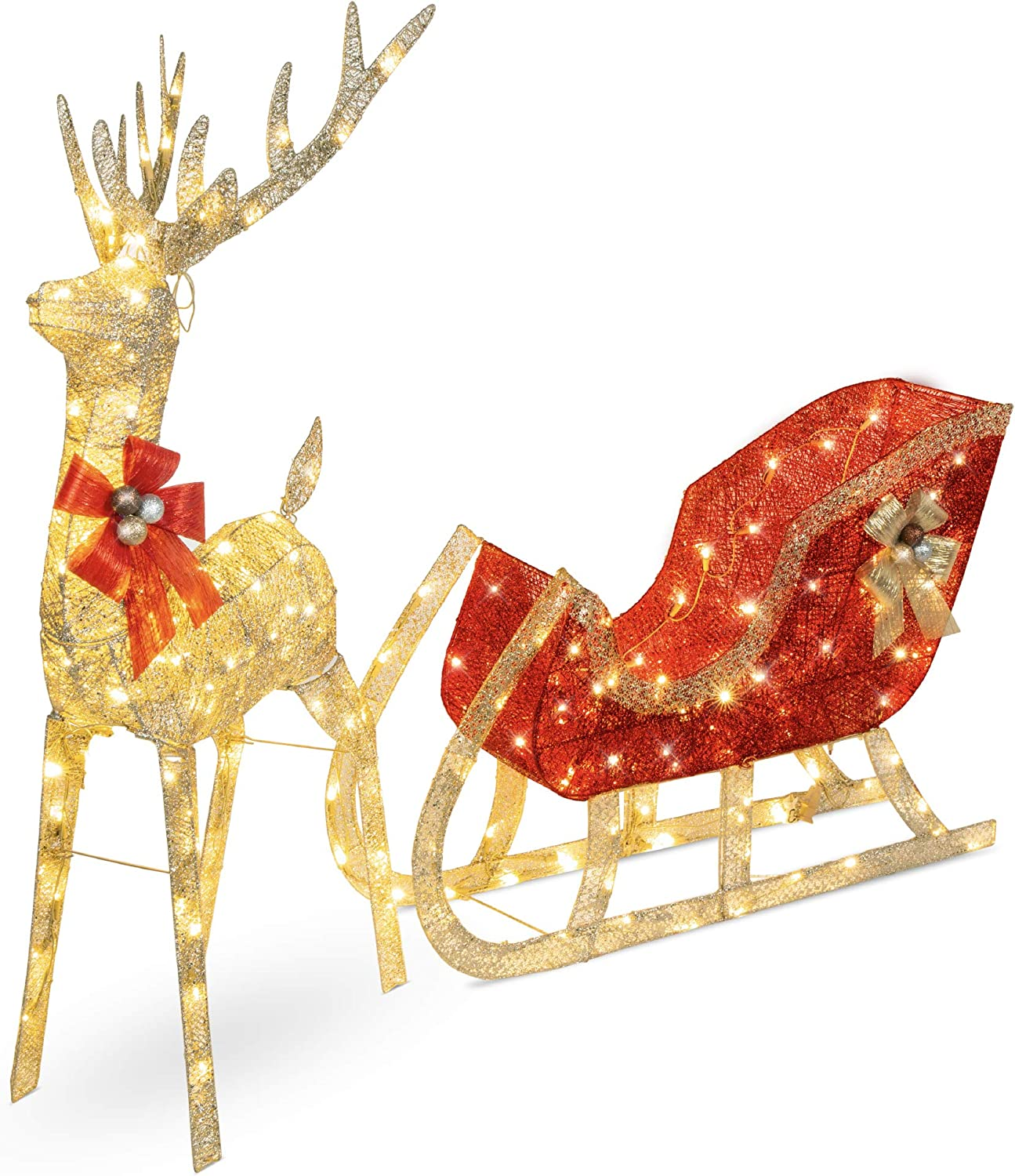 Best Choice Products Lighted Christmas 4ft Reindeer & Sleigh Outdoor Yard Decoration Set w/ 170 LED Lights, Stakes, Zip Ties