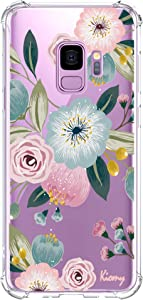 Galaxy S9 Case for Girls Women Shockproof Clear with Cute Pink Floral Design Protective Cell Phone Cover for Samsung Galaxy S9 5.8 Inch Flowers Pattern Print Rubber Slim Fit Flexible Gel Lady Cases