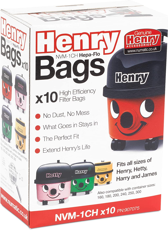 Pack Of 10 Numatic NVM 1CH Hepa-Flo Bags Henry Basil Hetty Vacuums