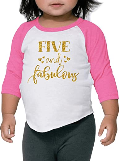 Five and Fabulous Shirt Birthday Tank Gold Birthday Shirt Baby Girl 5th Birthday Gold Sparkle Dress 5th Birthday Dress Fifth Birthday