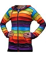 Shopoholic Fashion Long Pixie Hooded Rainbow stripe colourful jacket,Boho Hippy hoodie