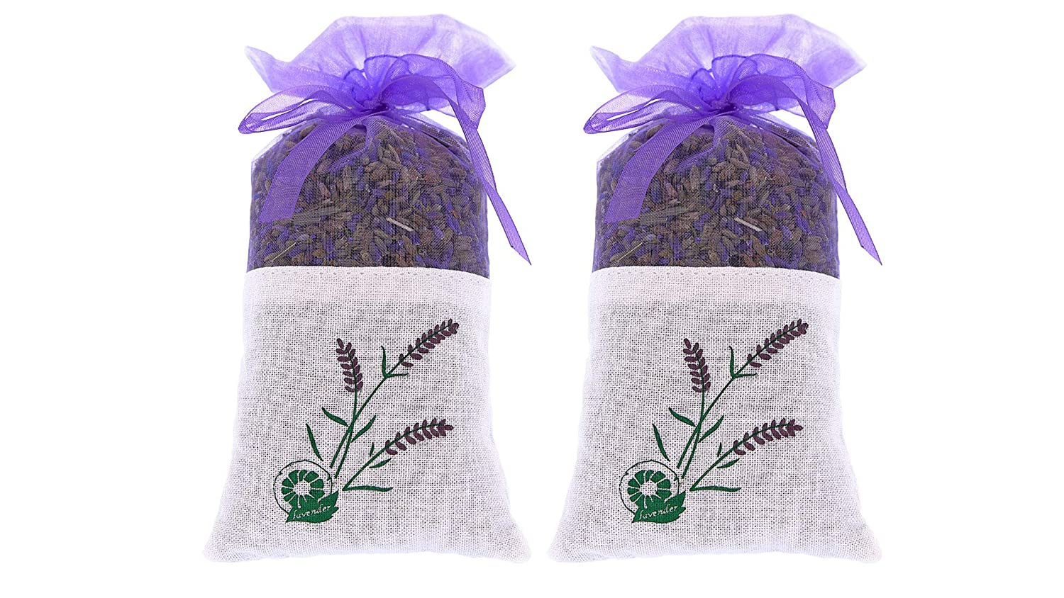 2 bags of 100% Pure Dried Lavender Buds for Closet and Drawers – Natural Air Freshener for room and car – moth and insect repellent – Lavender Aromatherapy The Ambient Collection AC01003