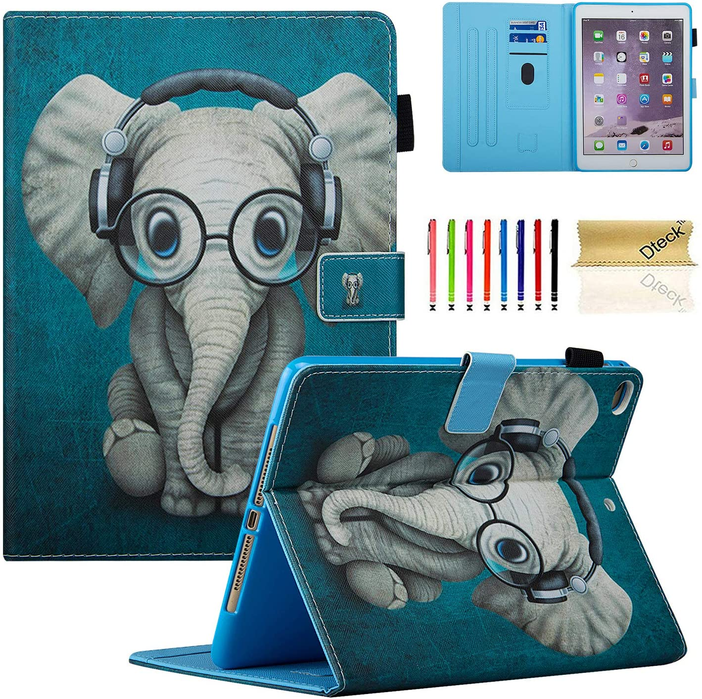 Dteck iPad 9.7 2018 2017 / iPad Air 2 / iPad Air Case, Multi-Angle Viewing Folio Stand Smart Shell Protective Cover with Auto Sleep/Wake for Apple iPad 6th/5th Gen,iPad Air 1 2,Doctor Elephant