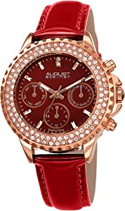 August Steiner Womens Quartz Watch, Analog Display and Leather Strap AS8267RD
