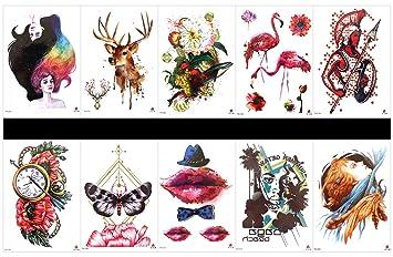 Interookie - 10 pegatinas de tatuajes falsos para tatuajes ...