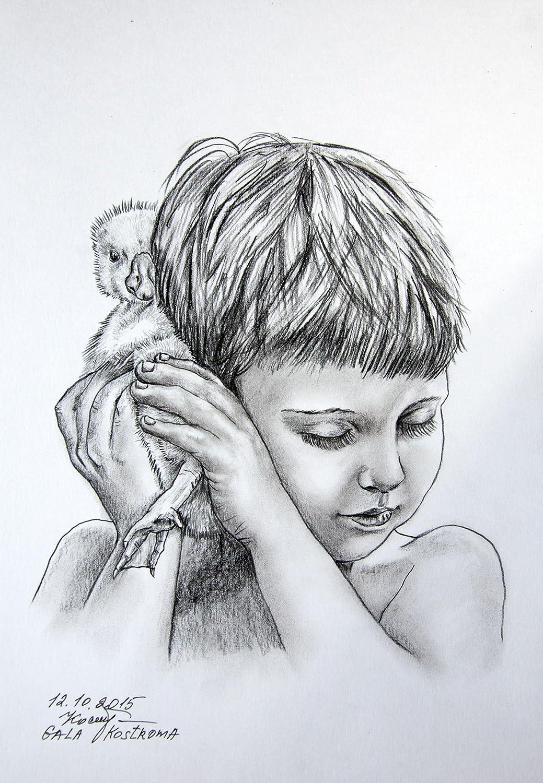 Amazon com favorite duckling original girl and pet pencil drawing