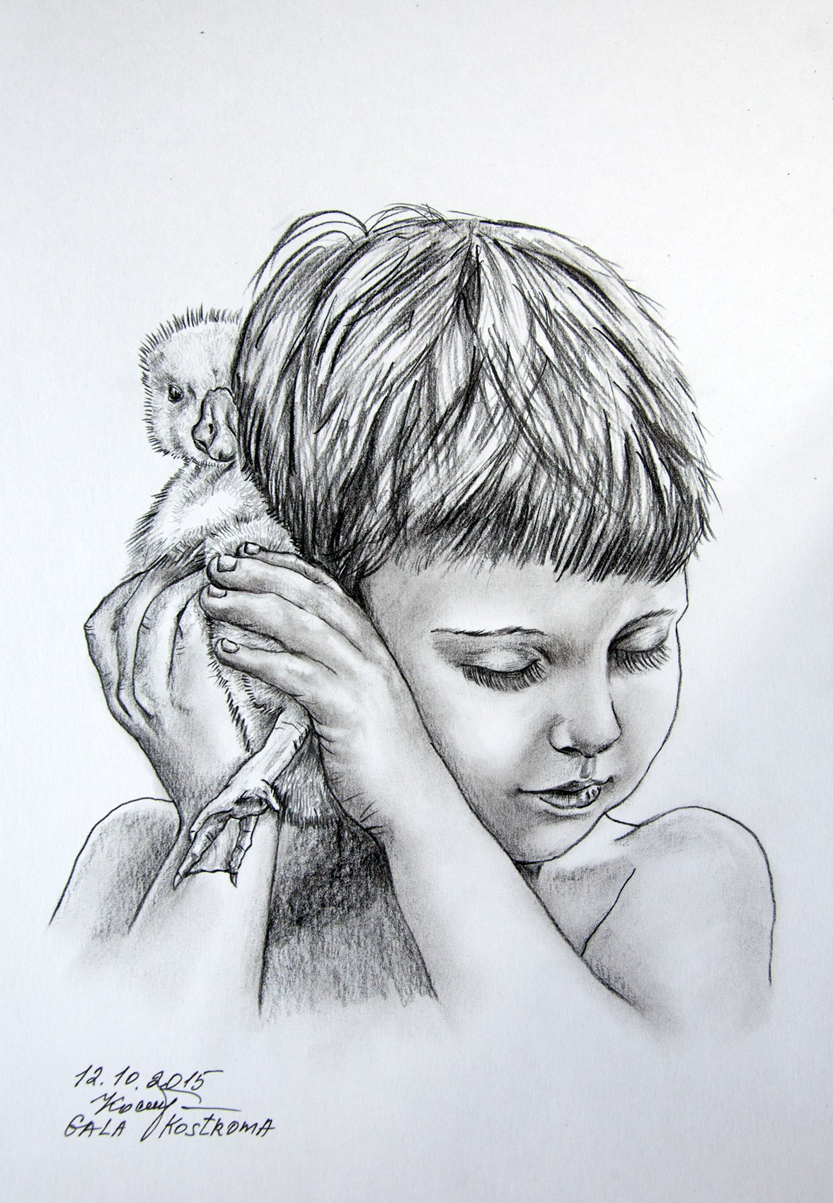 Favorite Duckling original girl and pet pencil drawing