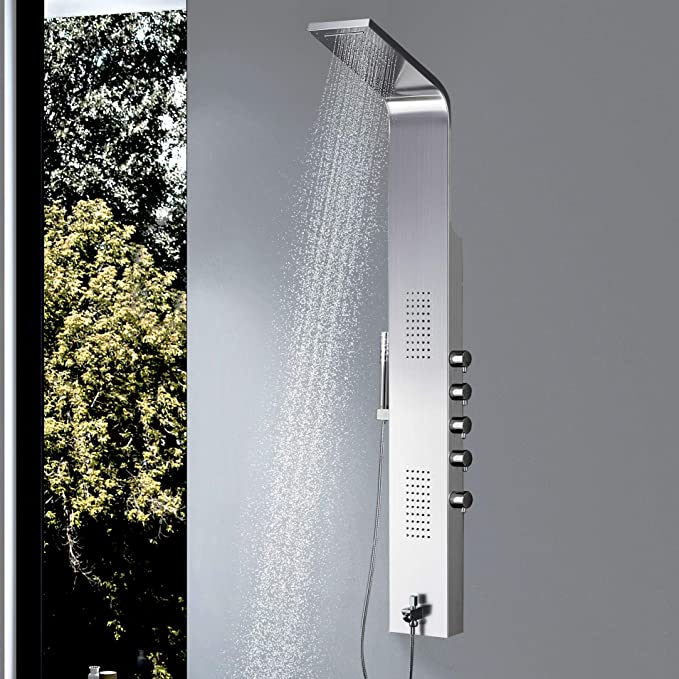 Vantory Shower Panel #304 Stainless Steel Wall Mount Multi-Function Tower Massage Systerm With Body Jets Tub Spout Rainfall Waterfall Showerhead - - Amazon.com