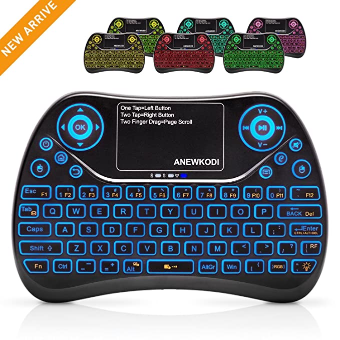 ANEWKODI Mini Teclado con Touchpad Teclado Inalámbrico con Retroiluminación de 7 Colores Combos Recargables para Smart TV, Android TV Box, HTPC, IPTV, ...