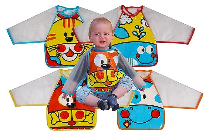 Ti TIN Pack 2 Baberos Batas Impermeables para Bebé 100 ...