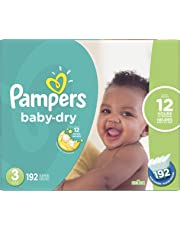 Pampers Diapers Size 3, Baby Dry Disposable Baby Diapers, 192 Count, Economy Pack Plus
