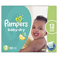 Pampers Baby Dry Disposable Diapers Size 3, Economy Pack Plus, 192 Count