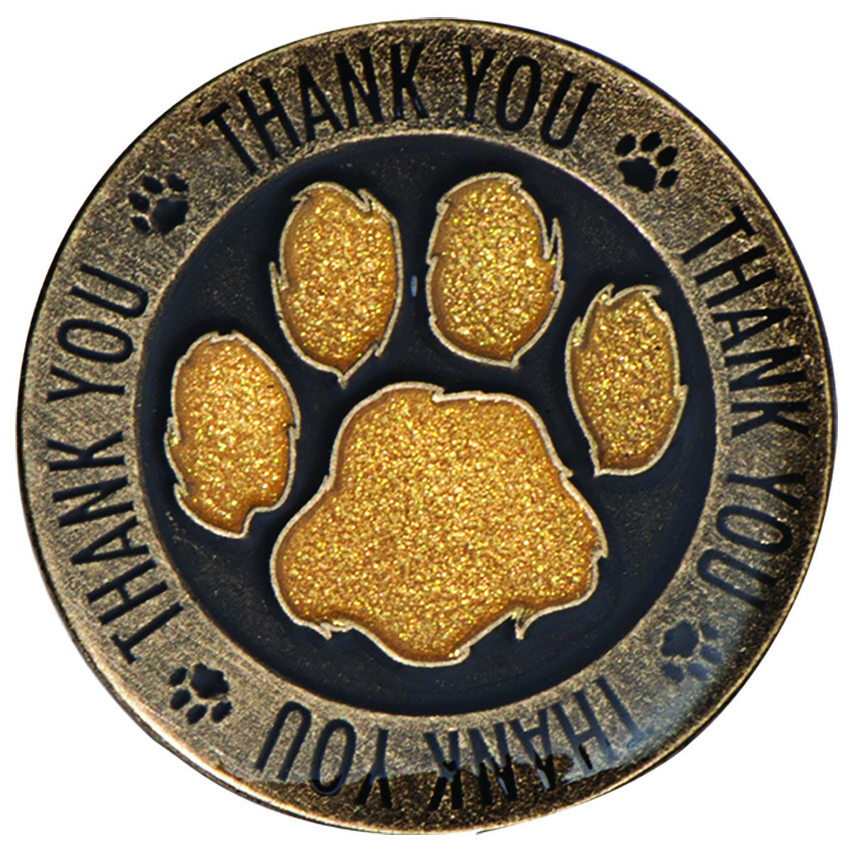Thank You Appreciation Award Lapel Pins with Gold Glitter Paw Print, 12 Pins