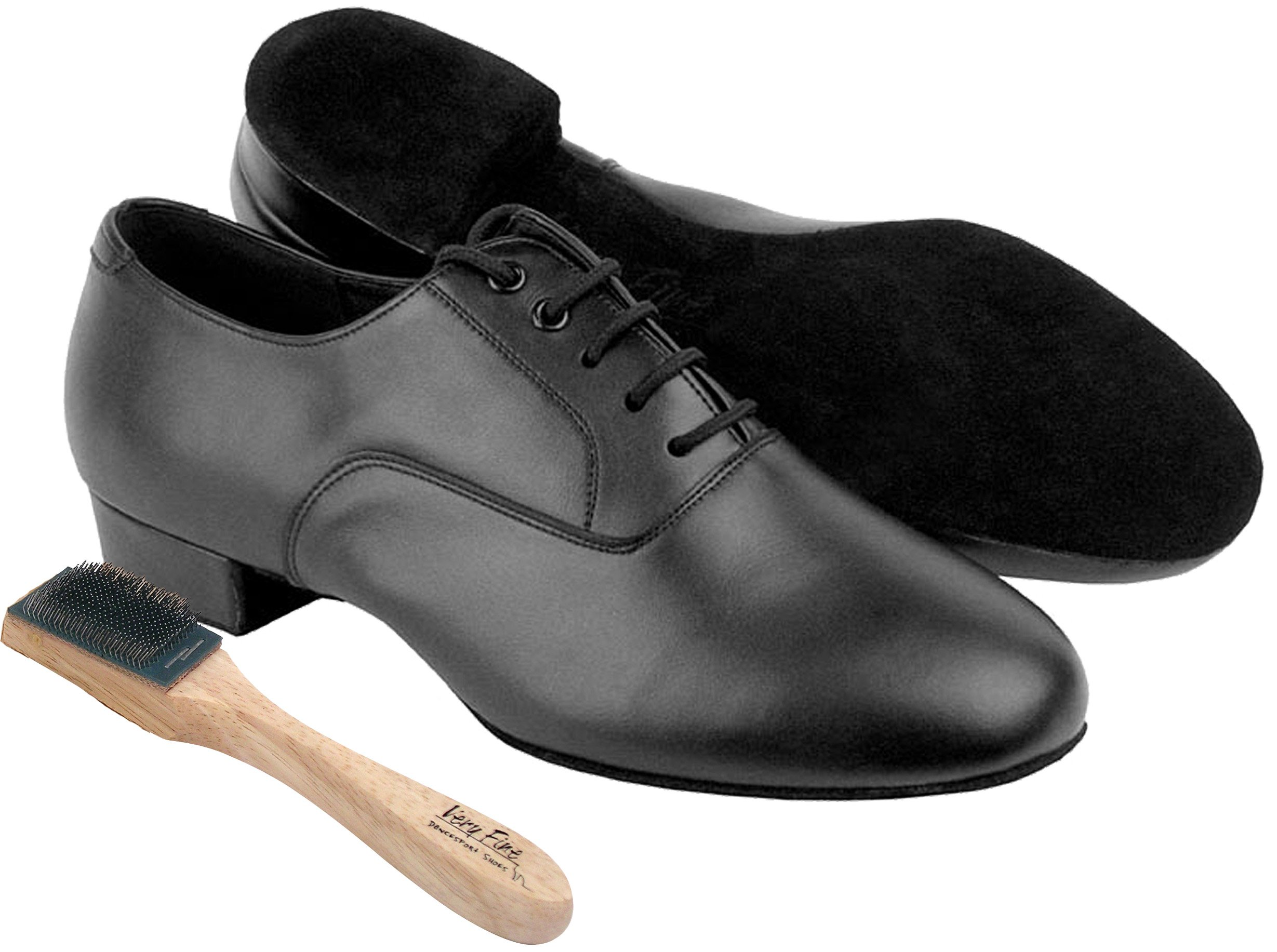 Very Fine Men's Salsa Ballroom Tango Latin Dance Shoes Style C919101W Bundle with Dance Shoe Wire Brush, Black Leather Wide Width 9 M US Heel 1 Inch by Very Fine Dance Shoes