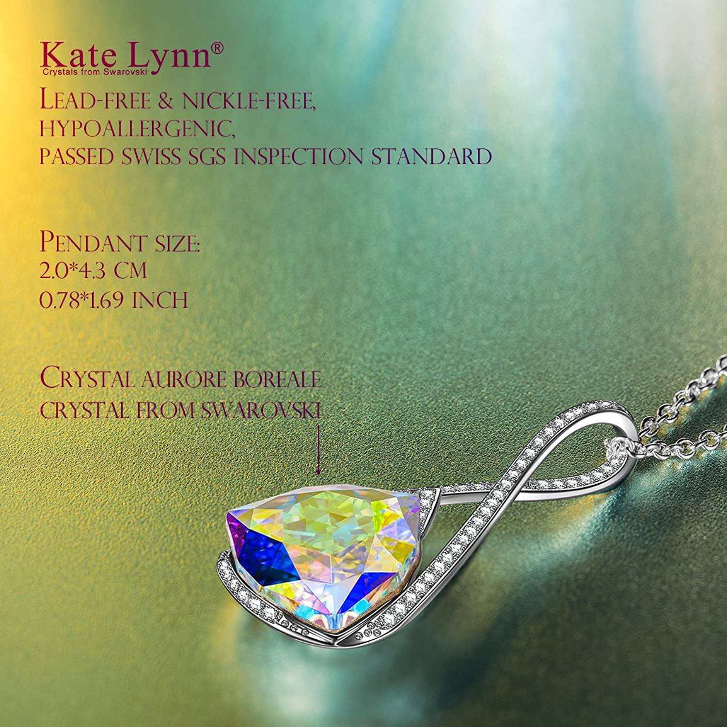 """Amazon.com: Necklace Jewelry Gifts for Women Girls Her Swarovski Crystal  KATE LYNN """"Encounter on Iceland"""" Pendants Necklace Christmas Gifts for  Women ..."""