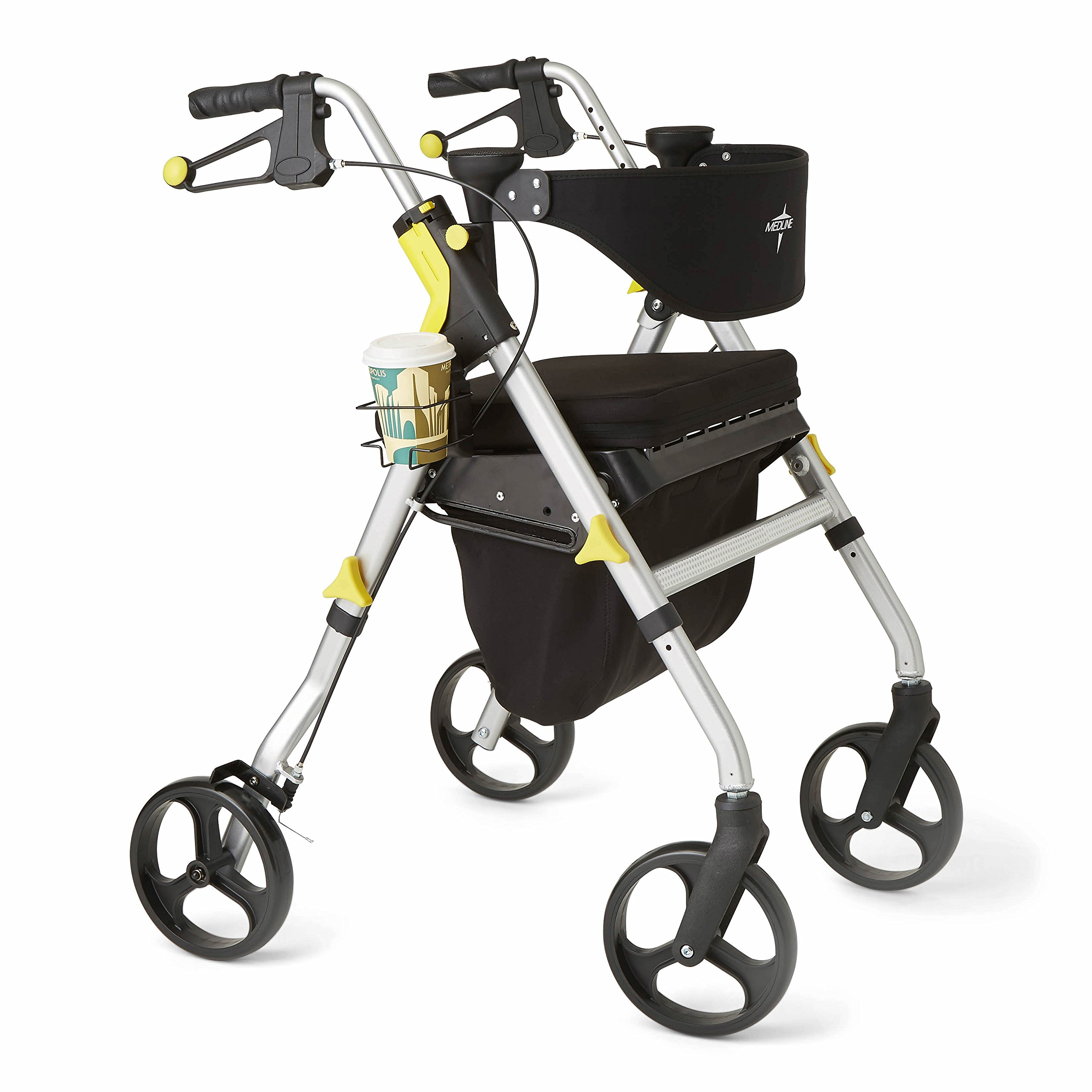 Medline Premium Empower Folding Rollator Mobility Walker with 8-inch Wheels, Silver