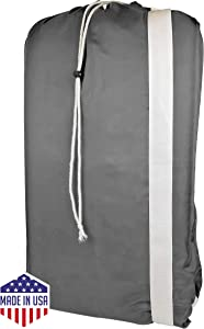 Nylon Laundry Bags with Shoulder Strap-30 X40, Machine Washable (Gray)