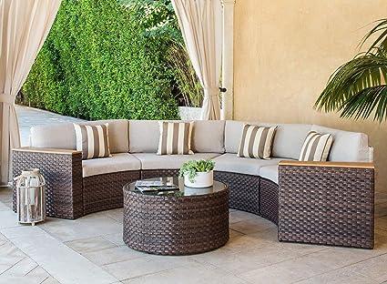 Amazon.com: Solaura Outdoor 5-Piece Sectional Furniture Patio Half ...
