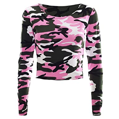 56ec031e26e5a Womens Ladies Army Camouflage Stretchy Military Long Sleeve T Tee Shirt  Crop Top  COLOR  NEON PINK  SIZE  M-L  Amazon.co.uk  Clothing