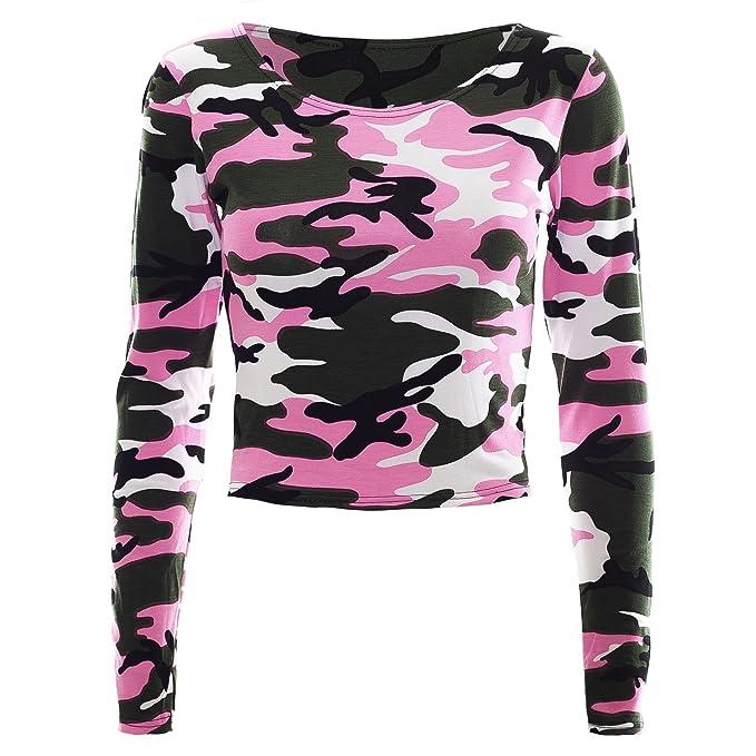 Oops Outlet - Camiseta de Manga Larga - Manga Larga - para Mujer Neon Pink -