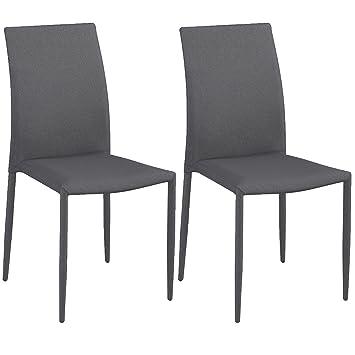 Abitti Pack 2 sillas tapizadas Color Gris Tela Asiento y Respaldo ...