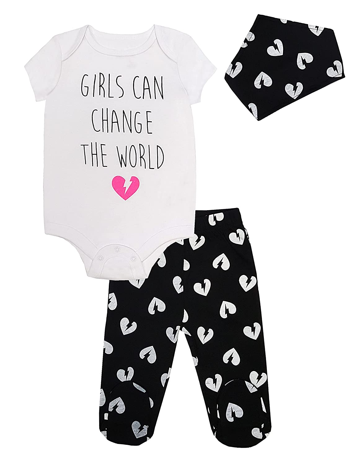 Mini Heroes - Infant 3 PC Girl's Bodysuit, Footed Pant and Bandana Set, White NTD Apparel