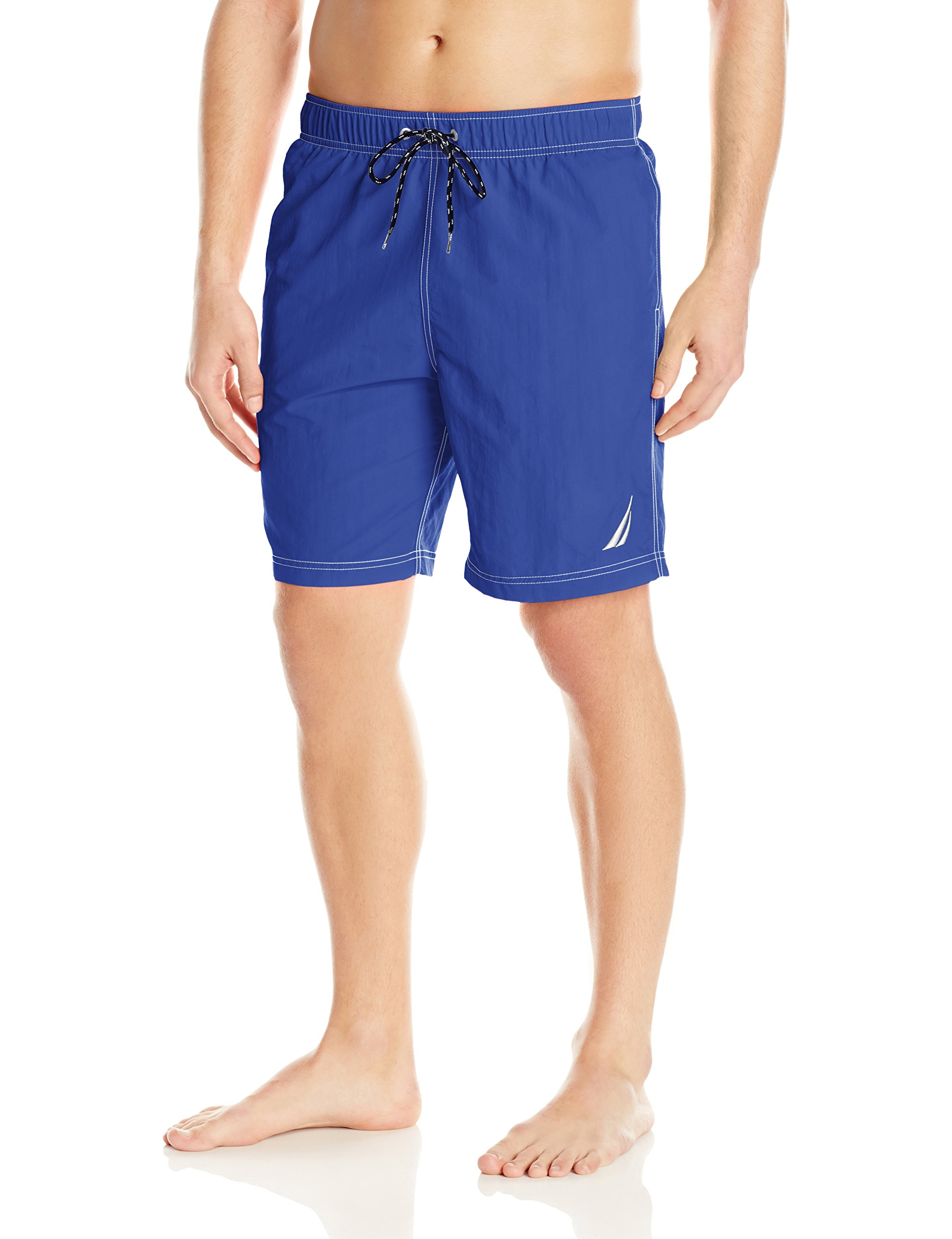 Nautica Men's Standard Solid Quick Dry Classic Logo Swim Trunk, Bright Cobalt, Large by Nautica